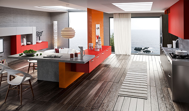 Ways to bring color to the Kitchen 15 Ways to bring color to the Kitchen contemporary kitchen interior design with colorful red orange and grey color scheme and wooden flooring also cloud pendant lights