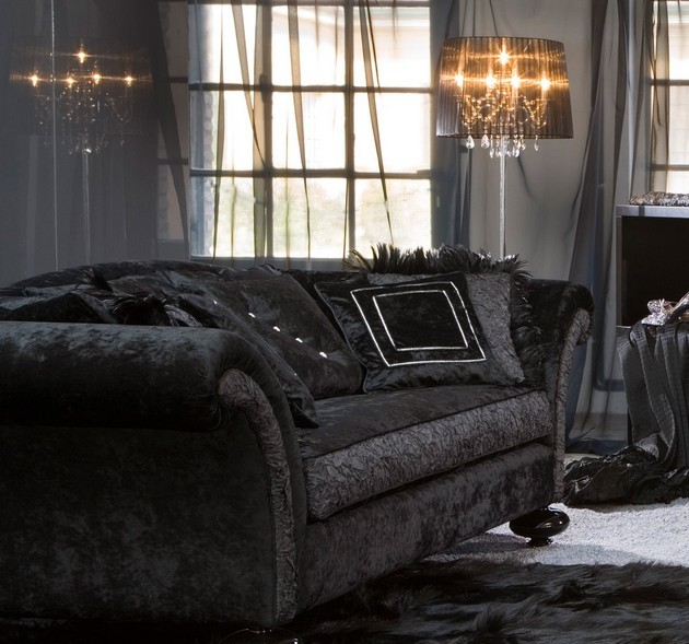Living Room Decor with a Black Velvet Sofa Living Room Decor with a Black Velvet Sofa Living Room Decor with a Black Velvet Sofa 32 e1420625335113