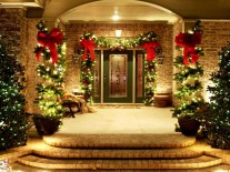 frontdoorchristmasdecoration front door christmas decoration ideas Best Front Door Christmas Decoration Ideas Outdoor Holiday Decorations for Sale 207x155