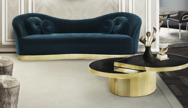 brass accessories for stylish rooms Brass Accessories for Stylish Rooms kelly sofa reve mirror tears cocktail table tresor stool koket projects 603x347