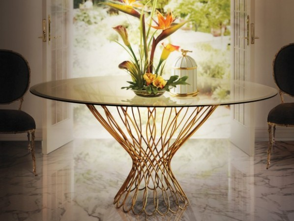 Elegant Entryway Table Designs The Most Elegant Entryway Table Designs vivre chandelier allure dining table enchanted chair koket projects e1460036392250 598x450