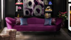 decorate your home with dark colors 8 Tips to Decorate your Home with Dark Colors colette sofa tresor stool chloe sconce blackcobra rug koket projects 233x132